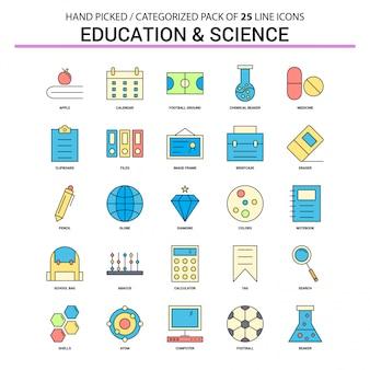 Conjunto de iconos de línea plana de educación y ciencia