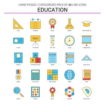 Conjunto de iconos de línea plana de educación