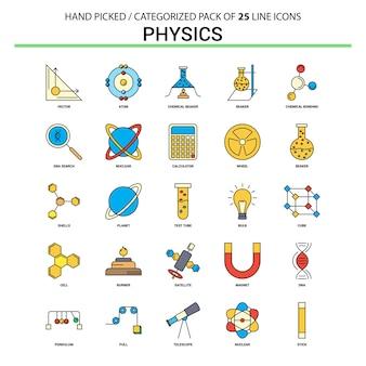 Conjunto de iconos de línea plana de física