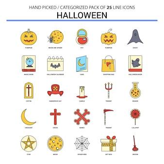 Conjunto de iconos de línea plana de halloween