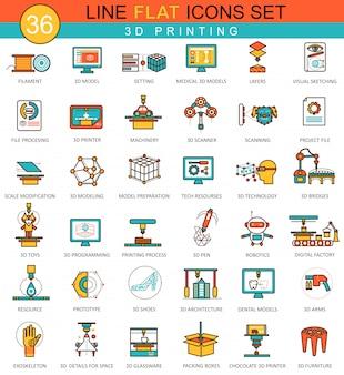 Conjunto de iconos de línea plana de modelado de impresión 3d