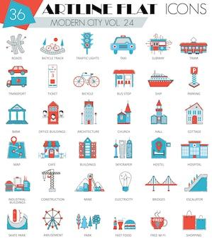 Conjunto de iconos de línea plana moderna ciudad inteligente