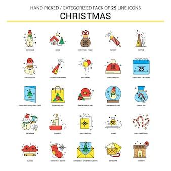 Conjunto de iconos de línea plana de navidad
