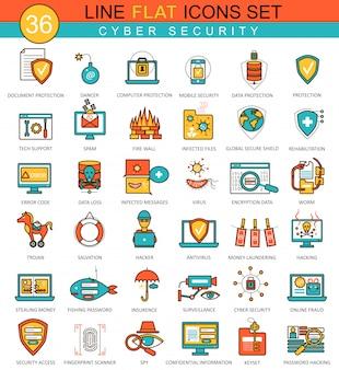 Conjunto de iconos de línea plana de seguridad cibernética