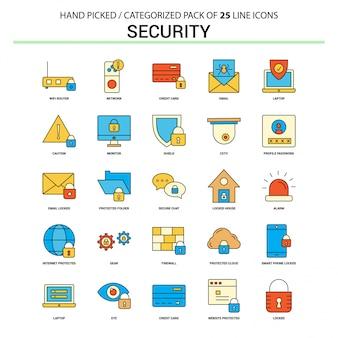 Conjunto de iconos de línea plana de seguridad
