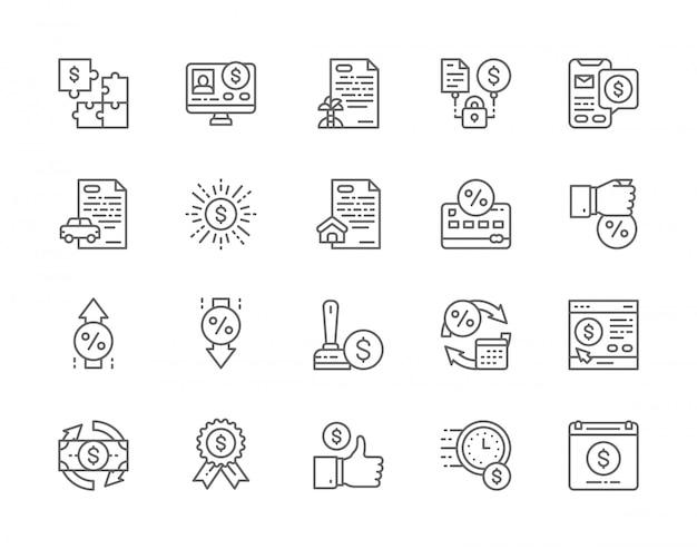 Conjunto de iconos de línea de préstamo rápido.
