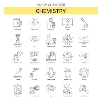 Conjunto de iconos de línea química - 25 estilo de esquema discontinuo
