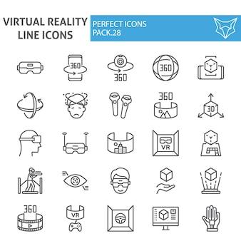 Conjunto de iconos de línea de realidad virtual, colección de realidad aumentada