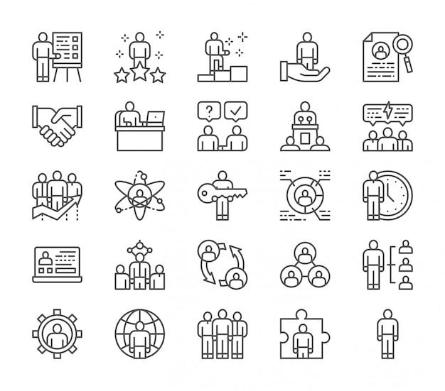 Conjunto de iconos de línea de recursos humanos. empleado, freelancer, reclutamiento y más.