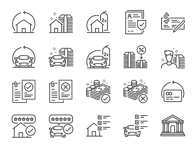 Conjunto de iconos de línea de refinanciación.