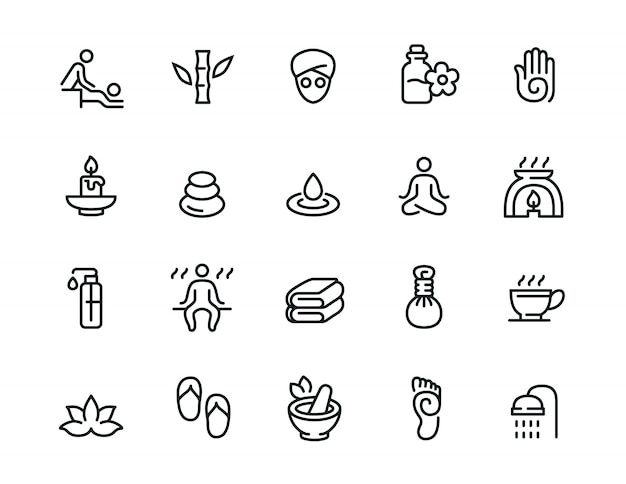 Conjunto de iconos de línea relacionada con minimal spa