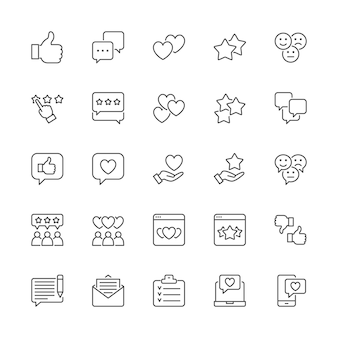 Conjunto de iconos de línea de retroalimentación. pulgar arriba, me gusta, no me gusta, corazones, chat, sms y más.