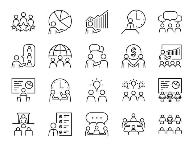 Conjunto de iconos de línea de reunión.
