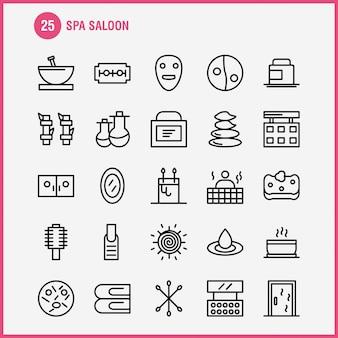 Conjunto de iconos de línea de salón de spa