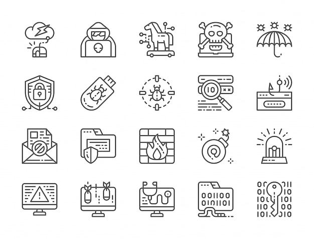 Conjunto de iconos de línea de seguridad cibernética