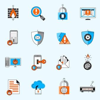 Conjunto de iconos de línea de seguridad de datos