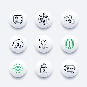 Conjunto de iconos de línea de seguridad, transacción segura, candado, escudo, caja fuerte, videovigilancia, autenticación, reconocimiento biométrico, seguridad en línea, seguridad