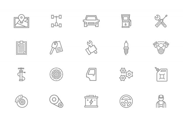 Conjunto de iconos de línea de servicio de coche.