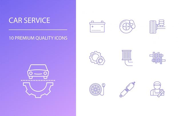 Conjunto de iconos de línea de servicio de coche