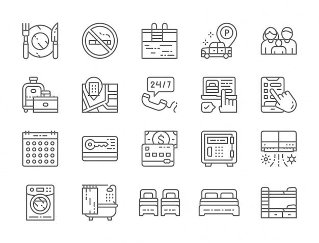 Conjunto de iconos de línea de servicio de hotel