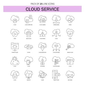 Conjunto de iconos de línea de servicio en la nube - 25 estilo de esquema discontinuo