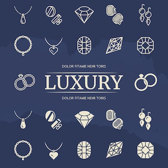 Conjunto de iconos de línea y silueta de joyas y diamantes