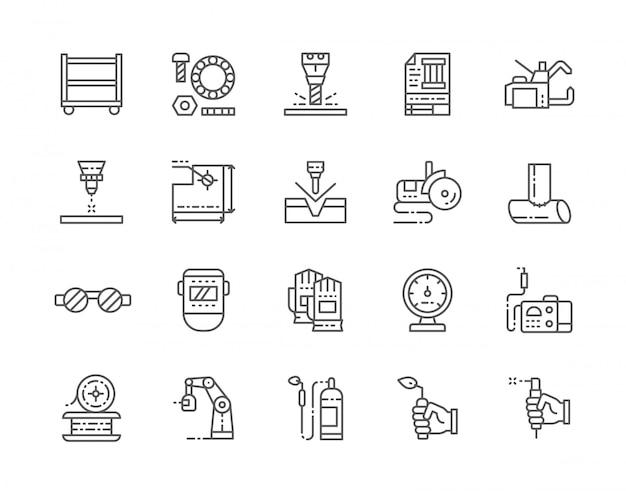 Conjunto de iconos de línea de soldadura