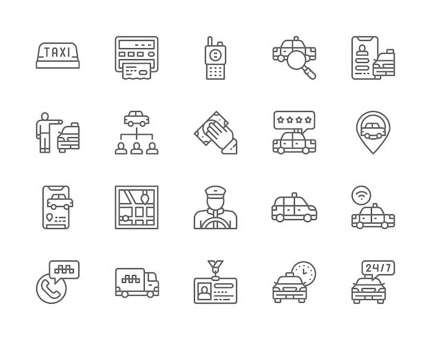 Conjunto de iconos de línea de taxi.