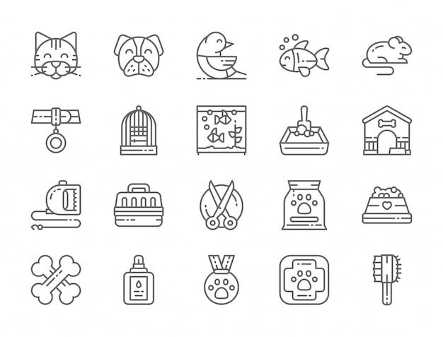Conjunto de iconos de línea de tienda de mascotas