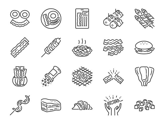Conjunto de iconos de línea de tocino.