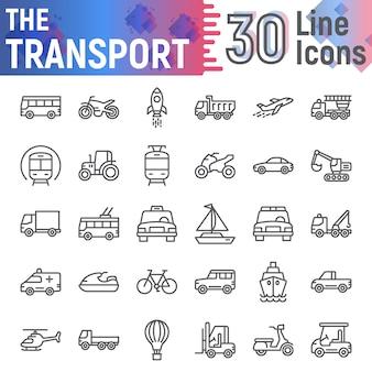 Conjunto de iconos de línea de transporte, colección de símbolos de vehículos,