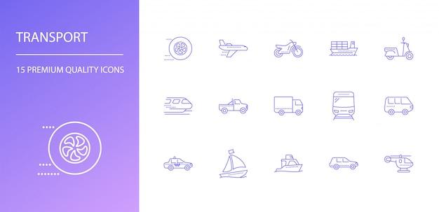 Conjunto de iconos de línea de transporte