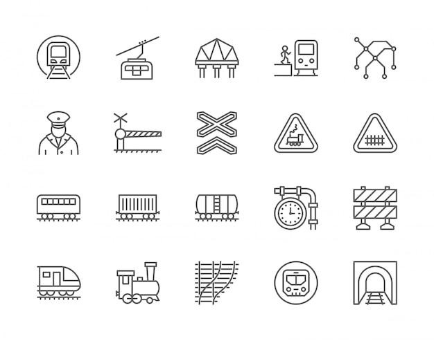 Conjunto de iconos de línea de trenes y ferrocarriles.