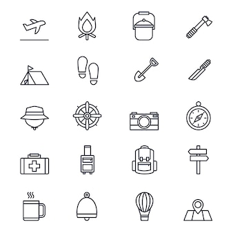Conjunto de iconos de línea de viaje