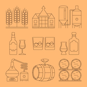 Conjunto de iconos de línea de whisky. símbolos de esquema de procesos e industria.