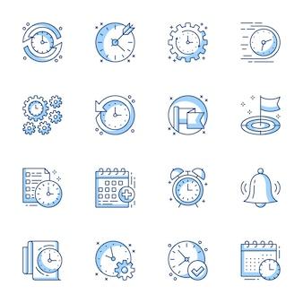 Conjunto de iconos lineal de gestión de tiempo y proyecto.