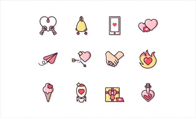 Conjunto de iconos lineal, relacionado con el día de san valentín
