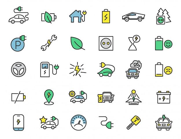Conjunto de iconos lineales de coches eléctricos iconos de la estación chrager