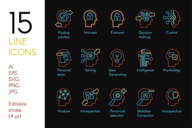 Conjunto de iconos lineales de color de actividad mental. pictogramas de líneas finas azules y amarillas de pensamiento analítico