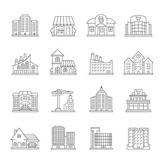 Conjunto de iconos lineales de edificios de la ciudad