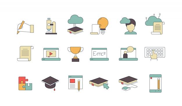 Conjunto de iconos lineales de elementos de educación y aprendizaje