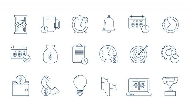 Conjunto de iconos lineales de elementos de gestión y finanzas