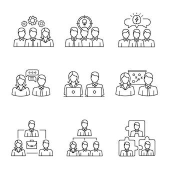 Conjunto de iconos lineales de trabajo en equipo