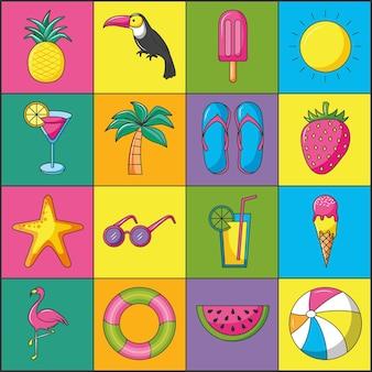 Conjunto de iconos lineales de verano coloridos
