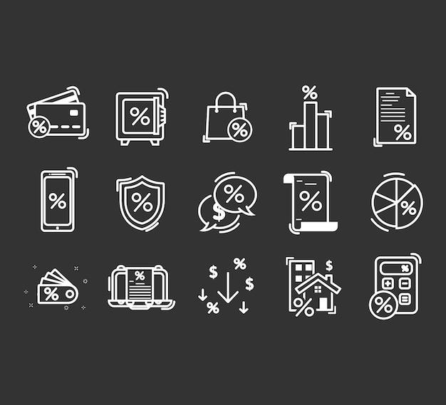 Conjunto de iconos de líneas relacionadas con préstamos.