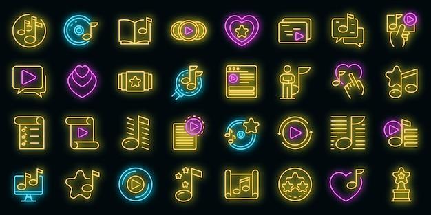 Conjunto de iconos de lista de reproducción. esquema conjunto de iconos de vector de lista de reproducción color neón en negro