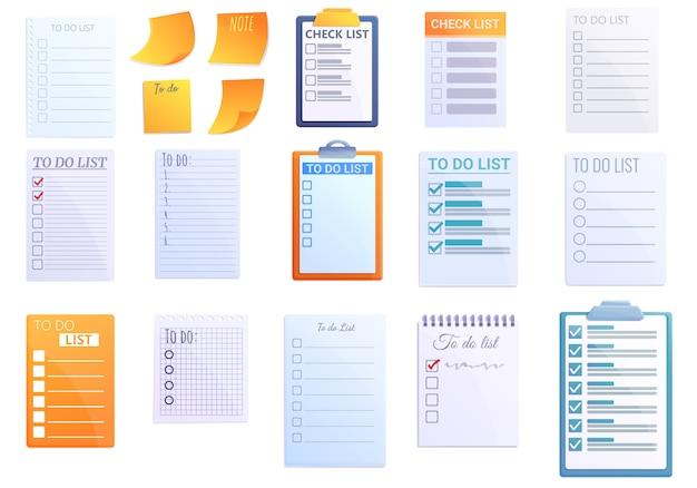 Conjunto de iconos de lista de tareas, estilo de dibujos animados