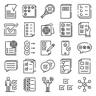 Conjunto de iconos de lista de verificación, estilo de contorno