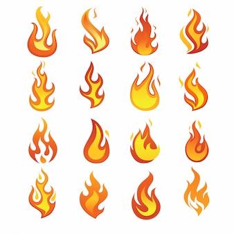 Conjunto de iconos de llama de fuego