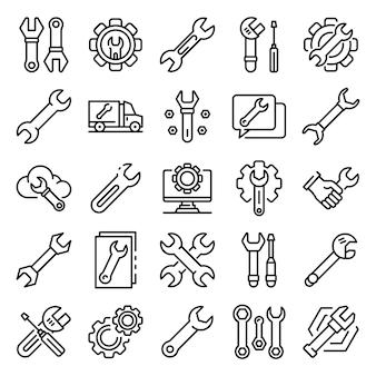 Conjunto de iconos de llave inglesa, estilo de contorno